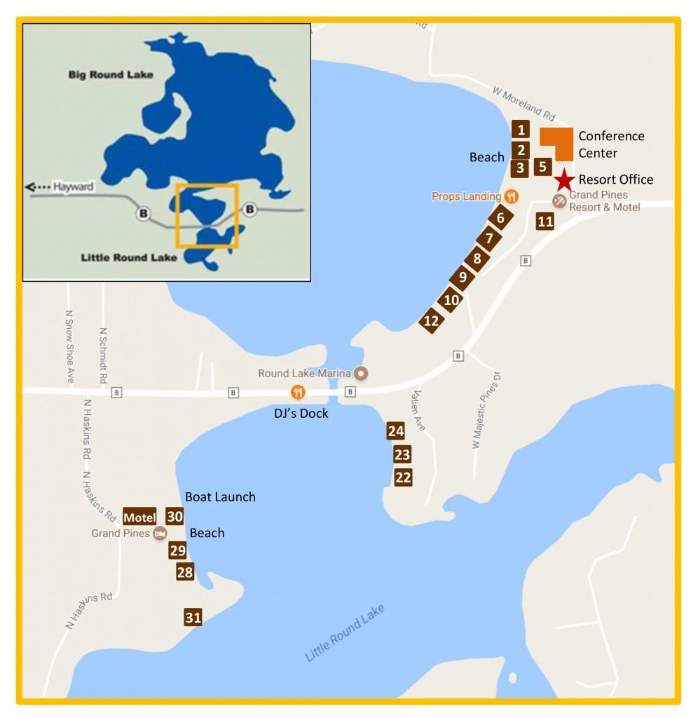 Grand Pines Resort Map   Hayward Wisconsin Resort Cabins ...